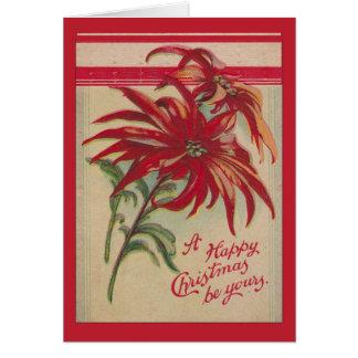 Carte Noël vintage, poinsettias rouges et salutations