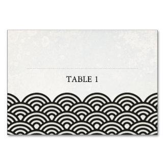 Carte Noir+Carte nominative plate d'endroit de vagues