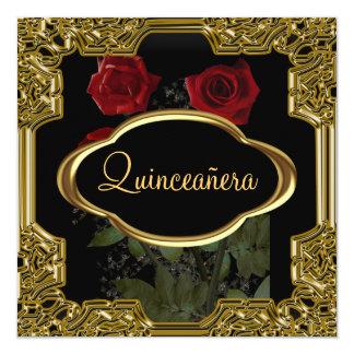 Carte Noir d'or de fête d'anniversaire de Quinceanera