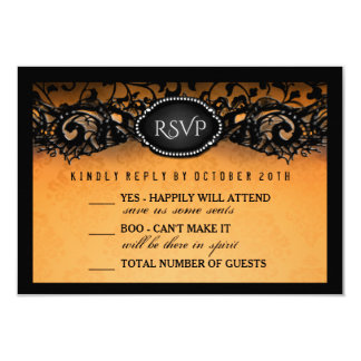 Carte Noir orange élégant 3.5x5 de Halloween épousant