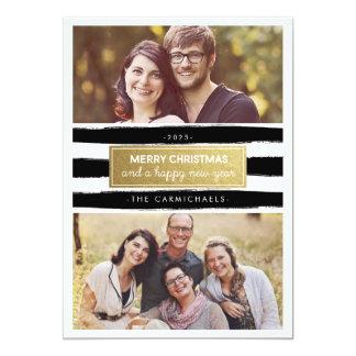 Carte noire chic de vacances de photo d'or blanc