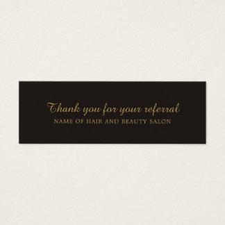 Carte noire élégante de référence de salon de