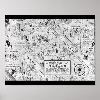 carte noire et blanche de boîtes de nuit de Harlem