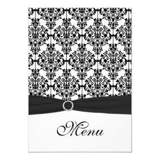 Carte noire et blanche de menu de mariage damassé carton d'invitation  12,7 cm x 17,78 cm