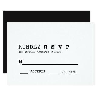 Carte noire et blanche minimaliste de RSVP
