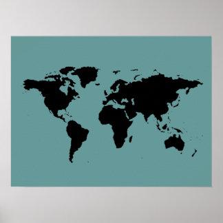 carte noire et bleue du monde