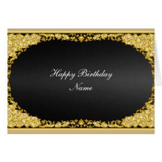 """Carte noire """"joyeux anniversaire """" d'or"""