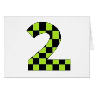 Carte Nombre Checkered vert deux
