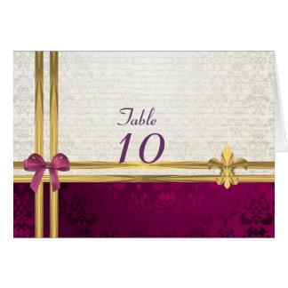 Carte Nombre de table de damassé de Bourgogne et de