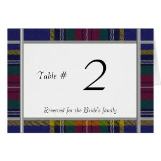 Carte Nombre de table de réception de mariage de plaid