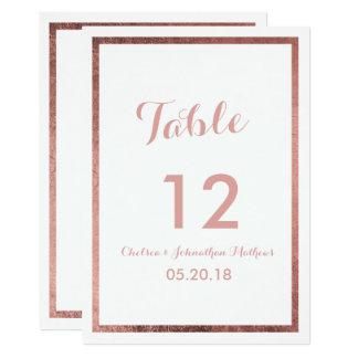 Carte Nombre élégant de Tableau d'or rose blanc moderne
