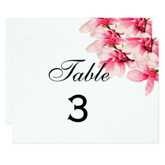Carte Nombre floral de Tableau de mariage de magnolia