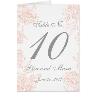 Carte Nombre vintage floral gris de corail de Tableau de