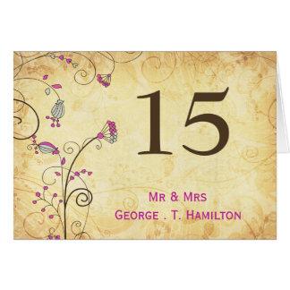 Carte nombres floraux fuchsia vintages rustiques de