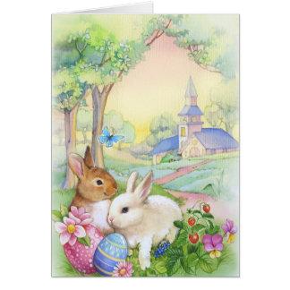 Carte Nostalgique, lapins de Pâques vintages