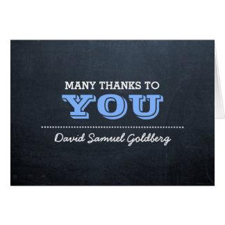 Carte Note bleue de Merci de Mitzvah de barre de tableau