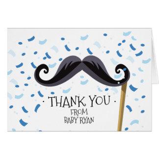 Carte Note de Merci de baby shower de moustache