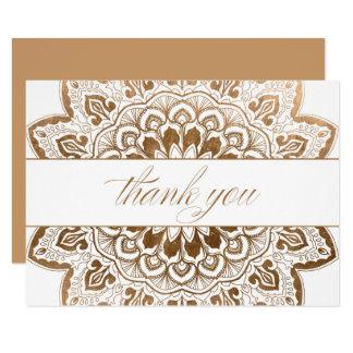 Carte Note de Merci de mandala de médaillon d'or