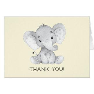 Carte Note neutre de Merci de baby shower d'éléphant