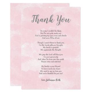 Carte Note rose de Merci de baby shower d'aquarelle +