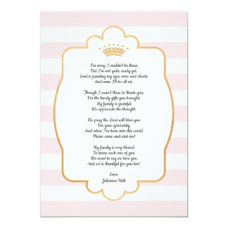 Carte Note rose de Merci de baby shower de couronne d'or