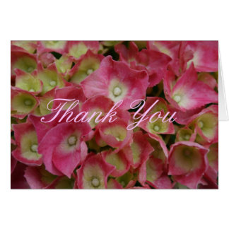 Carte Note rose de Merci d'hortensia