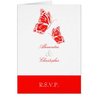 Carte Note rouge simple du papillon RSVP