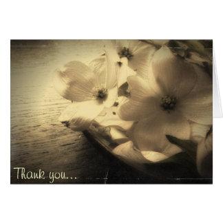 Carte Note vintage de Merci de fleur de cornouiller de
