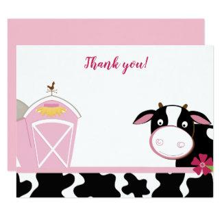 Carte Notes plates de Merci de ferme rose de vache