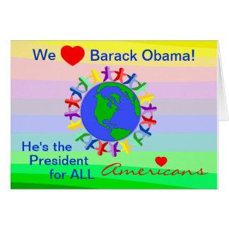 Carte Nous coeur Barack Obama, président pour tous les