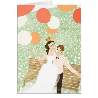 Carte Nouveaux mariés sur une branche de jardin