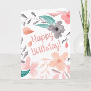 Carte Nouvel anniversaire heureux de l'aquarelle florale