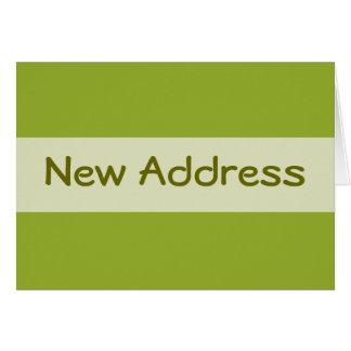 Carte Nouvelle adresse de vert olive
