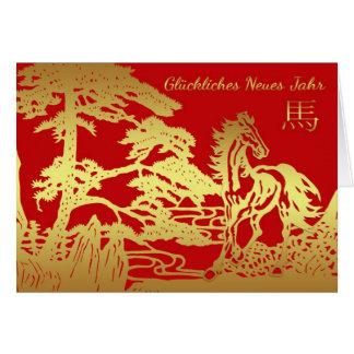 Carte Nouvelle année chinoise allemande, année du cheval