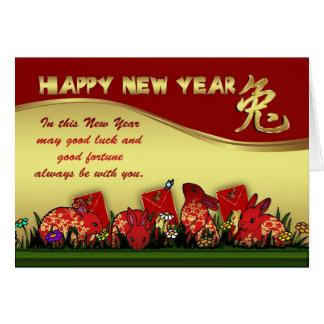 Carte Nouvelle année chinoise avec l'enveloppe de lapin