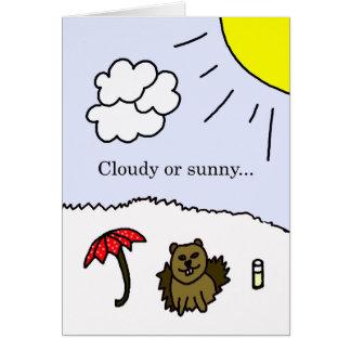 Carte nuageuse ou ensoleillée de jour de Groundhog