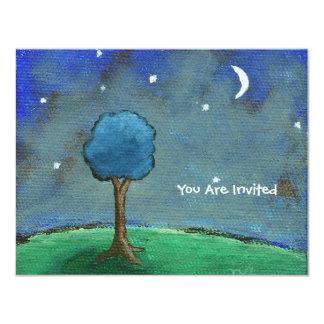 Carte Nuit étoilée, l'arbre abstrait de paysage tient le