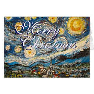 Carte Nuit étoilée Vincent van Gogh de Noël peint