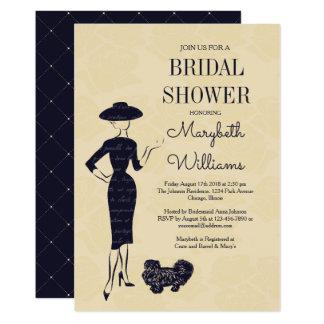 Carte nuptiale de douche de mode vintage classique