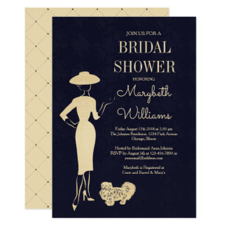 Carte nuptiale de douche de mode vintage classique carton d'invitation  12,7 cm x 17,78 cm