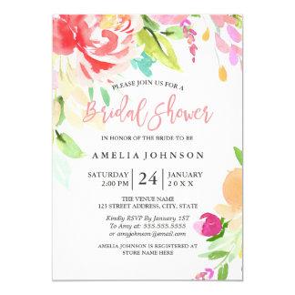Carte nuptiale florale de douche d'aquarelle carton d'invitation  12,7 cm x 17,78 cm