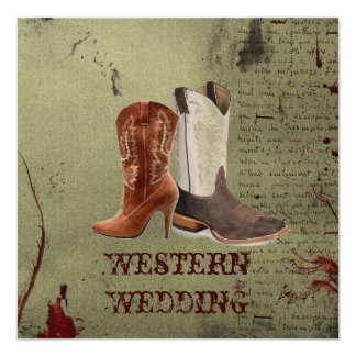 Carte obtention de épouser occidental accroché de bottes