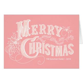 Carte occidentale rose de Joyeux Noël de