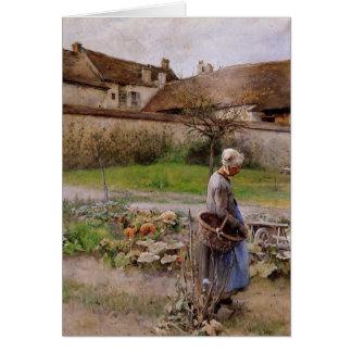 Carte Octobre avec la femme dans son jardin