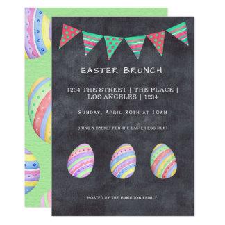 Carte Oeuf et bannière colorés de brunch de Pâques