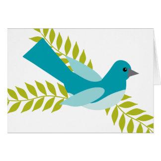 Carte Oiseau bleu doux et simple se reposant sur un