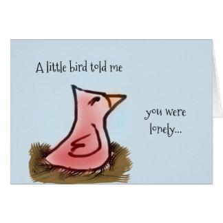 Carte Oiseau rouge d'aquarelle dans un nid pensant à