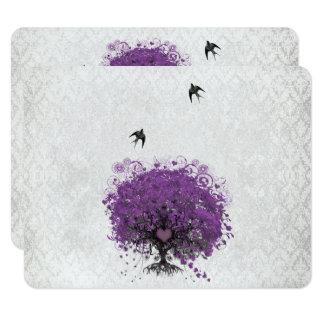 Carte Oiseaux vintages RSVP d'arbre d'aubergine de