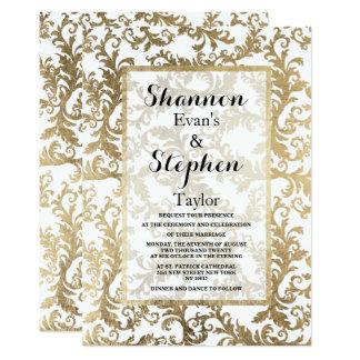 Carte Or blanc sophistiqué mariage damassé de faux