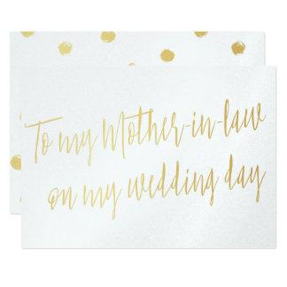 """Carte Or chic """"à ma belle-mère mon jour du mariage """""""